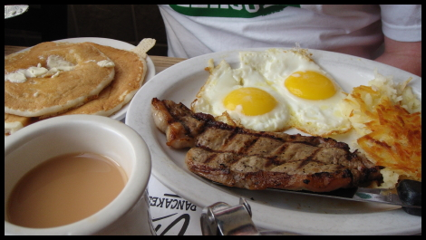 Matt vs Food - Steak and Eggs at Chris' Pancakes